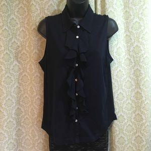 Chaps Denim sleeveless ruffled button down shirt